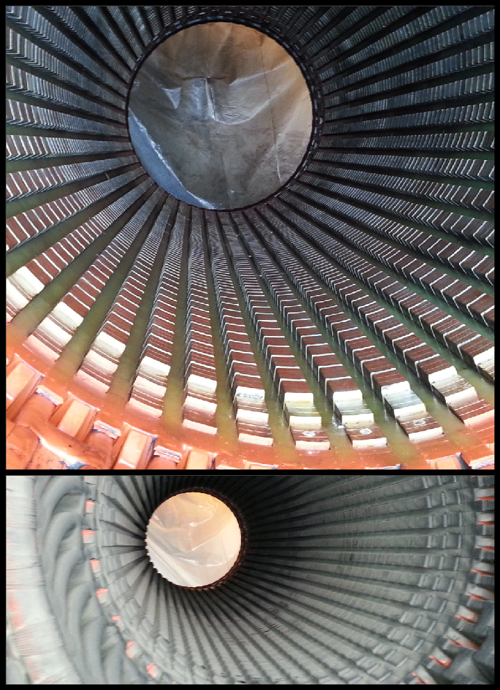 Turbine Generator Stator Before and after Co2 Blasting