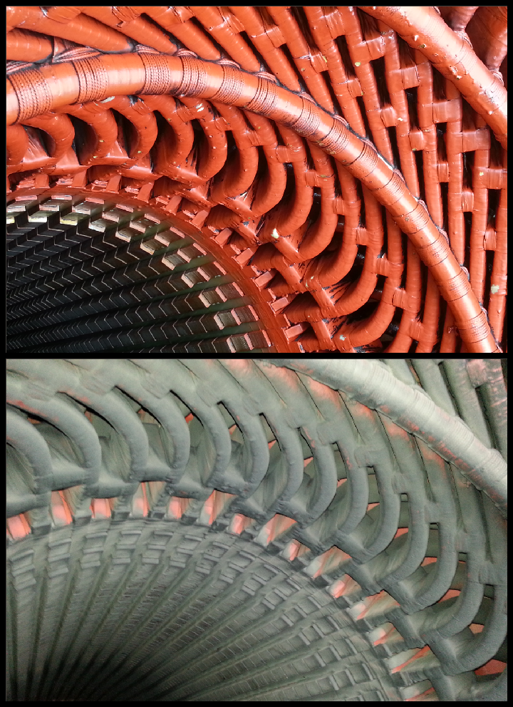 Turbine Generator Stator and Windings Before and After Dry Ice Blasting